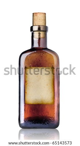 Old fashioned drug bottle with label, isolated, clipping path. - stock photo