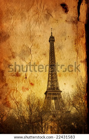 old-fashioned Eiffel Tower - stock photo