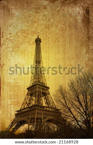 old-fashioned Eiffel Tower in nightfall - paris France - stock photo