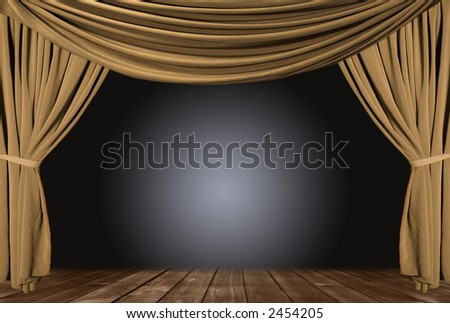 Old fashioned, elegant theater stage with gold velvet curtains. - stock photo