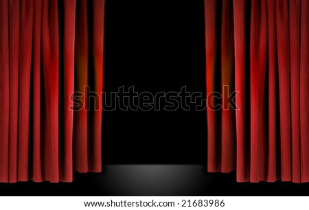 Old fashioned elegant theater stage with red velvet curtains - stock photo
