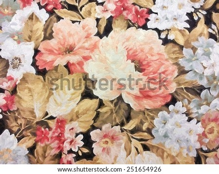 old-fashioned floral rose design with impressionistic effect - stock photo