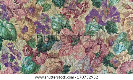 old-fashioned floral tapestry - stock photo
