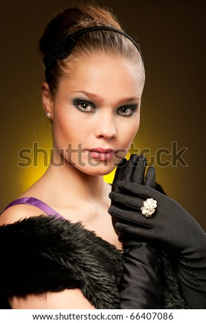 Old fashioned Hollywood style portrait of adorable diva - stock photo