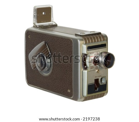 Old-fashioned home movie camera isolated on white background - stock photo