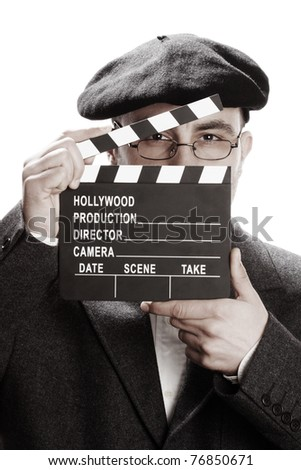Old fashioned man looking through the movie clapper