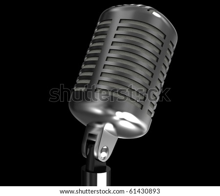 old-fashioned microphone on a black background
