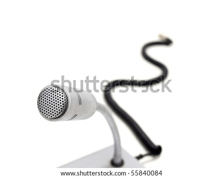 old fashioned microphone over white background, shallow DOF - stock photo
