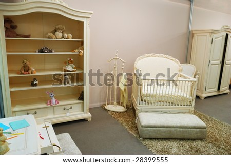 Old fashioned nursery interior baby room - stock photo