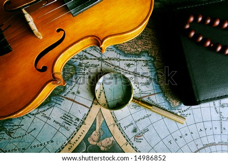 Old fashioned objects on the vintage map - stock photo