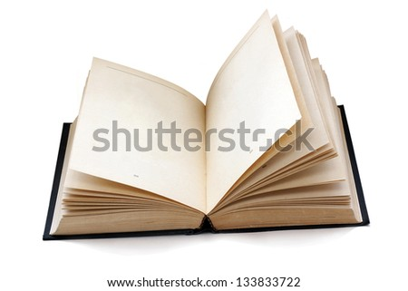 old fashioned open book with empty pages isolated with shadows - stock photo