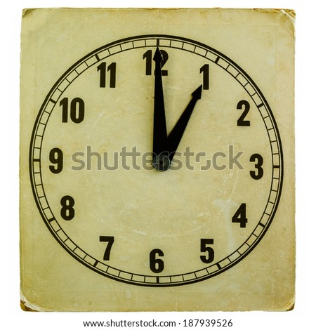 old fashioned paper clock showing one oclock pm isolated on white