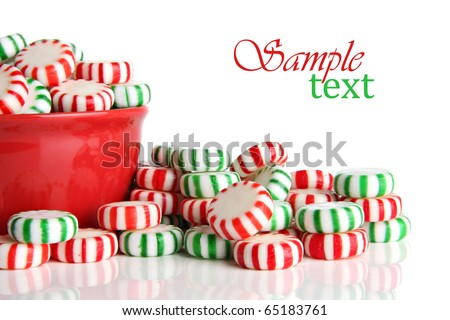 Old fashioned peppermint Christmas candy. - stock photo