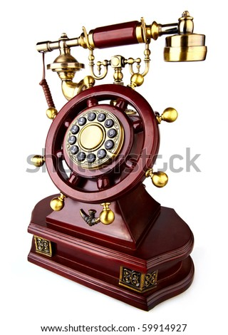 old-fashioned phone on white background