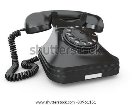 Old-fashioned phone on white isolated background. 3d - stock photo