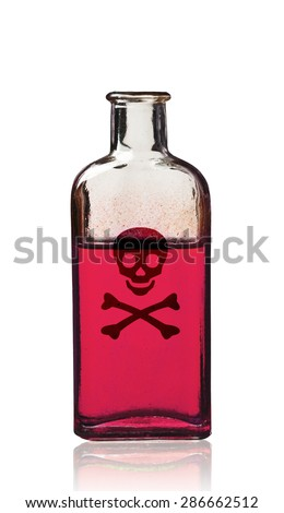 Old fashioned poison bottle, isolated, clipping path.