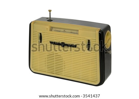 Old fashioned radio set over white 1 - stock photo