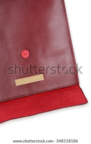 Old fashioned red leather documet folder with leather texture on white - stock photo