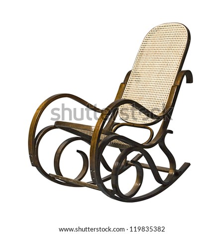 Old Fashioned Rocking Chair Isolated Over White