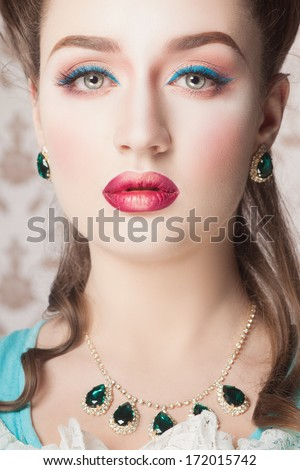 Old fashioned sexy woman - stock photo