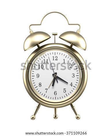 Old-fashioned style bronze alarm clock, isolated against a white background.