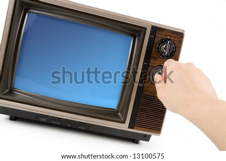 Old-fashioned Television with white background