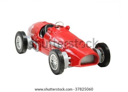 old fashioned toy racing car - stock photo