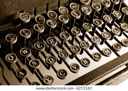 Old-fashioned typewriter sepia cast