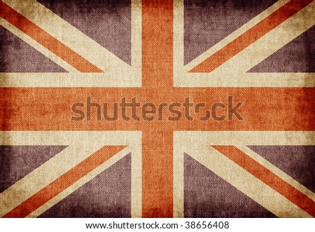 Old-fashioned UK flag - stock photo