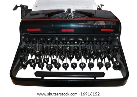 old fashioned, vintage typewriter isolated on white background - stock photo
