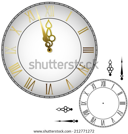 Old-fashioned wall clock with hands about midnight with black and white template. - stock photo