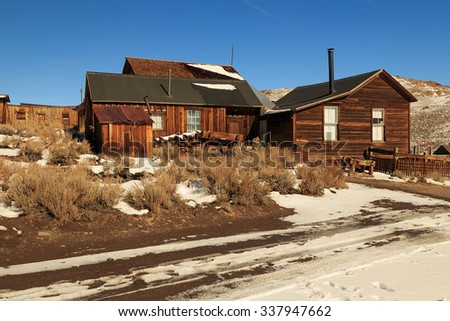 Old fashioned wild west ghost town, California, USA. - stock photo