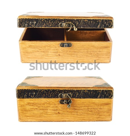Old-fashioned wooden old casket isolated over white background, set of two foreshortenings - stock photo