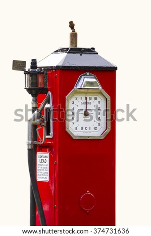 Old fashions red petrol or gas pump on a white background - stock photo