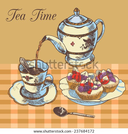 Old-fasioned english tea time restaurant country style poster with traditional teapot and cupcakes dessert  illustration - stock photo