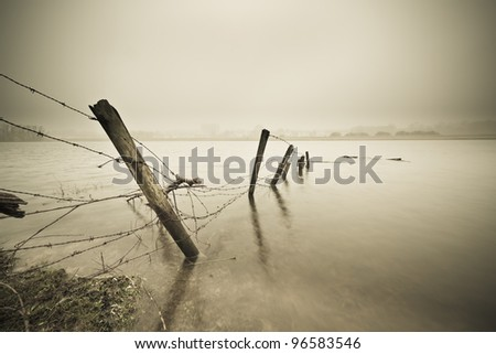 Old fence in Rhine River - stock photo