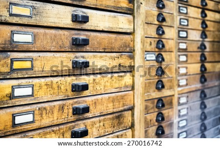 old filing cabinet - front view - stock photo