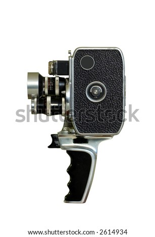 old film camera isolated on white - stock photo