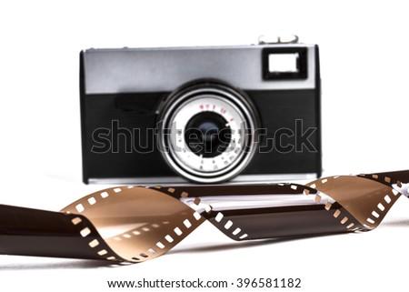 Old Film Camera Isolated on White Background - stock photo