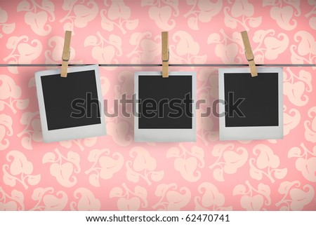 Old film frames blanks on a rope - stock photo