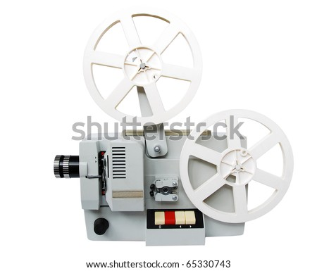 Old film projector, isolated on white - stock photo