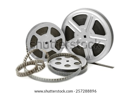 Old film strip isolated on white background - stock photo