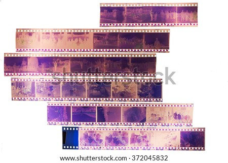 Old films on the light background. - stock photo