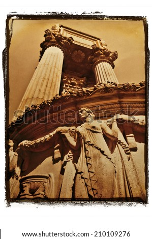 Old fine art photograph of the Palace of Fine Arts landmark in San Francisco.Sepia tone with grunge photo border/Architecture of goddess statues in San Francisco under giant pillars - stock photo