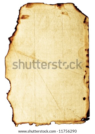 Old, fine-textured grunge burnt paper with dark adust borders. Isolated on white with clipping paths - stock photo
