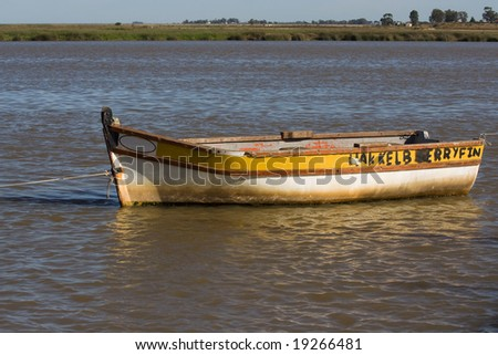 Old fishing boat moored on the Bergriver in South Africa