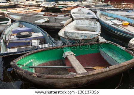 Old fishing boats - stock photo