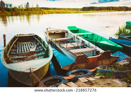 Old Fishing Boats In River. Rowboat, Belarusian Nature - stock photo