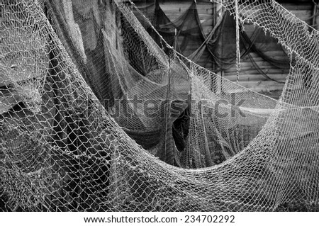 Old fishing nets.    - stock photo