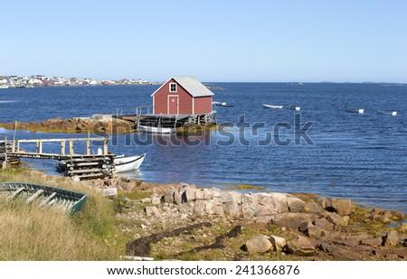 Old fishing shack on Fogo Island, Newfoundland, Canada - stock photo
